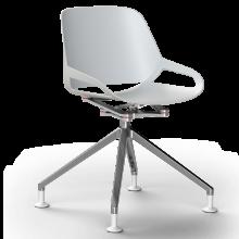 Numo mit Fusskreuz chrom und Gleiter - Sitzschale weiss
