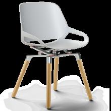 Numo mit Holzbeinen und Sitz in weiss